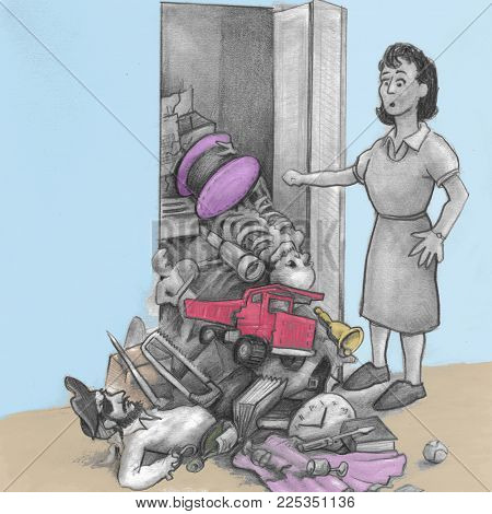 One Mature Woman Opened A Closet Door And All Her Junk Fell Out And Onto The Floor. An Illustrated