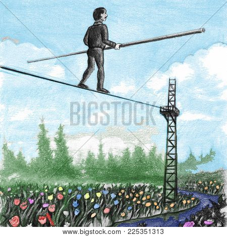 Older Male Carrying A Large Balance Pole Walking Away On A High Tight Rope Above Flowers. Middle-age