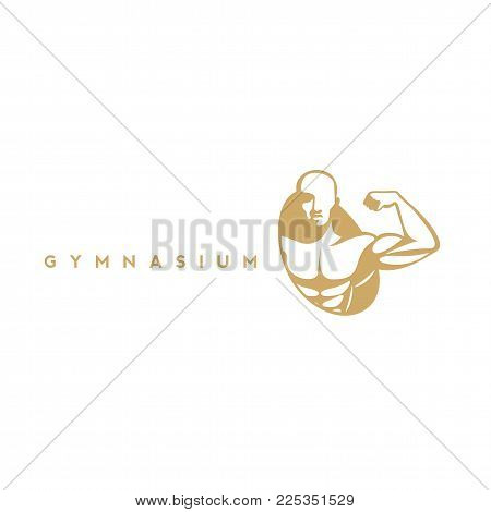 Gymnasium icon, fitness and health, muscle on white background with typography vector illustration design.