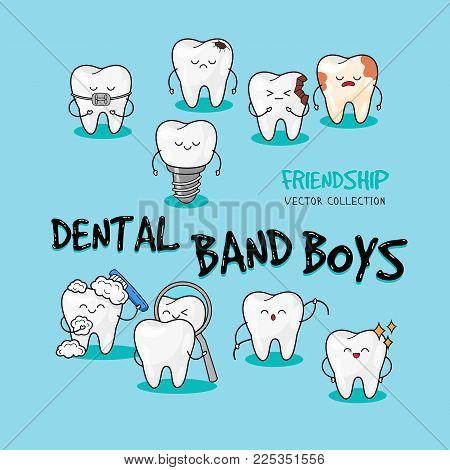 Dental personage vector illustration. Dental concept for your design. Illustration for children dentistry. Oral hygiene, teeth cleaning.