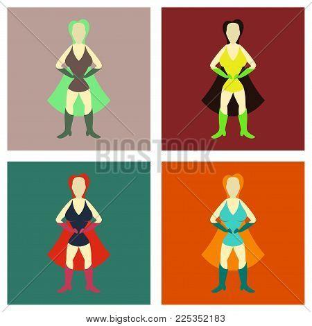 Set of Superhero woman.Female cartoon character . Icon in flat style