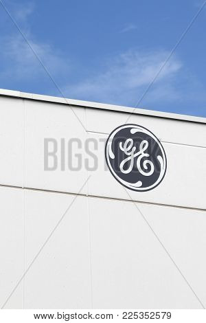 Saint Priest, France - July 29, 2017: General Electric Logo On A Wall. General Electric Is An Americ