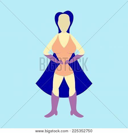 Superhero woman.Female cartoon character . Icon in flat style