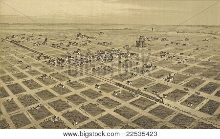 1890 engraving of city of Childress Texas drawn by T. M. Fowler. Public domain. poster