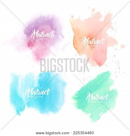 Collection of blots hand painted with watercolor isolated on white background. Bundle of artistic paint smears of various pastel colors. Set of aquarelle backdrops. Colorful vector illustration