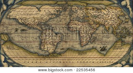 Antique Map of the World Antique map by Ortelius circa 1570 poster