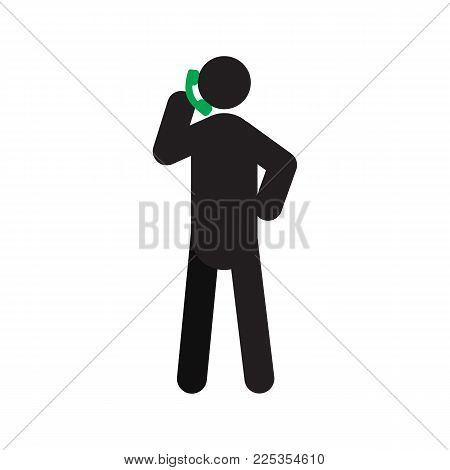 Man talking on phone silhouette icon. Incoming or outgoing call. Isolated vector illustration. Call center