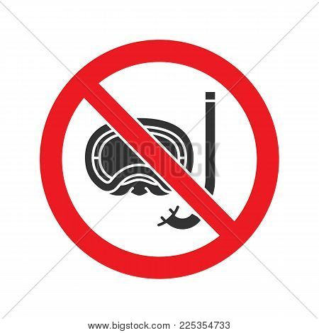 Forbidden sign with aqualung glyph icon. Stop silhouette symbol. No diving prohibition. Negative space. Vector isolated illustration