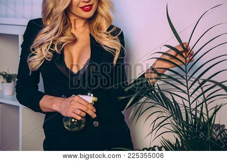Cropped Image Of Beautiful Sexy Woman Watering Plant In Office