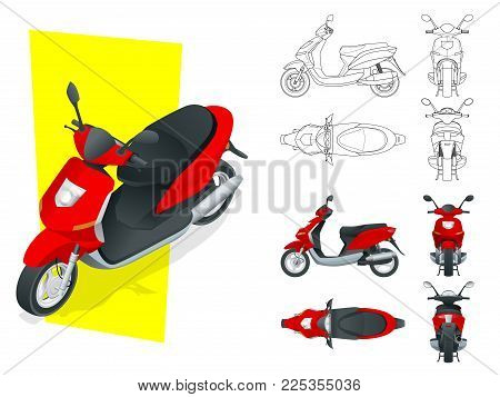 Trendy electric scooter, isolated on white background. Isolated Motorbike template for moped, motorbike branding and advertising. Front, rear, side, top and isometry front and back.