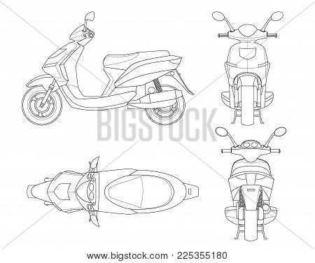 Trendy scooter outline isolated on white background. Isolated Motorbike template for moped, motorbike branding and advertising. View from side, front, back, top
