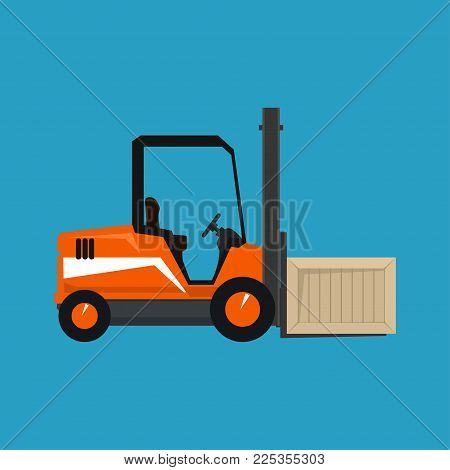 Orange Forklift Truck Isolated On A Blue Background, Vehicle Forklift With A Box,  Illustration