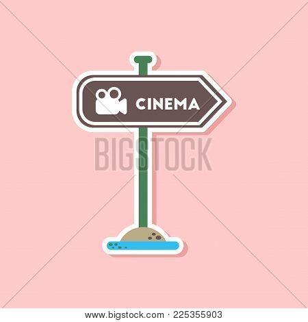 paper sticker on stylish background of cinema sign