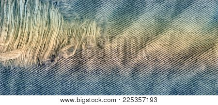 Blue Denim Jean Texture Background. Jeans Torn Fabric Texture