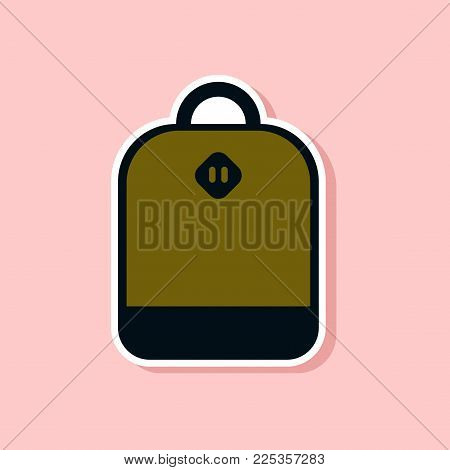 paper sticker on stylish background of school bag