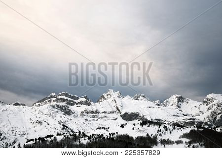 Snowy peaks in Candanchu, Pyrenees, Huesca, Aragon, Spain.