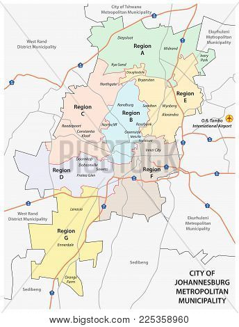 City of Johannesburg Metropolitan Municipality road, administrative and political vector map