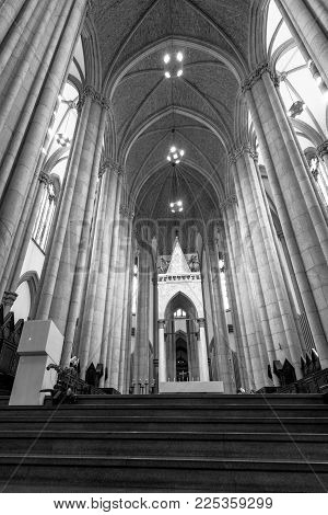SAO PAULO, BRAZIL - FEBRUARY 02: Wide angle picture of the statue in front of Se Cathedral in Sao Paulo, Brazil