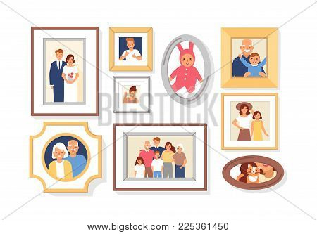 Collection of photos of family members or relatives and events in frames. Bundle of framed wall pictures or photographs with smiling people depicted on them. Colorful cartoon vector illustration