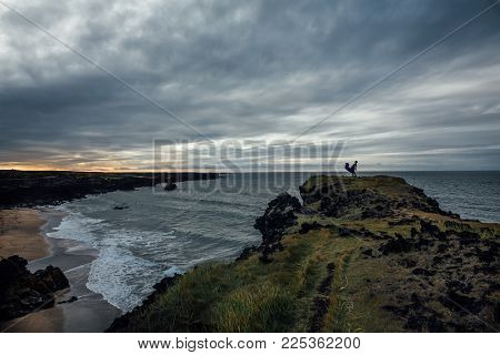 Travel To Iceland. Beautiful Icelandic Landscape With Mountains, Sky, Creek And Clouds. Trekking In