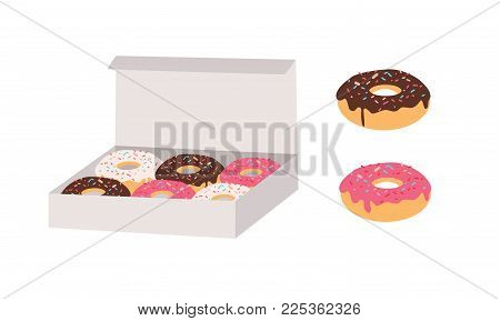 Donuts glazed with colorful sugar and chocolate icing and topped with sprinkles lying in carton box and isolated on white background. Tasty fried dough confectionery or dessert. Vector illustration