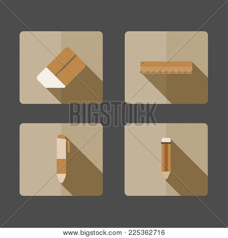 4 Icons Pencil, pen, eraser, ruler, Long shadow on brown background