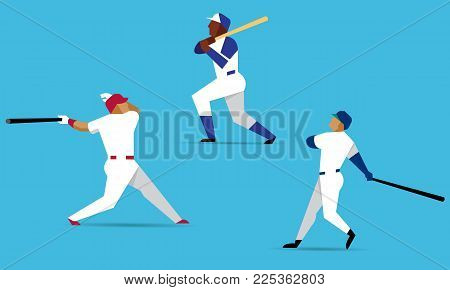Baseball players characters in actions on blue background. Baseball player with bat in flat design. Vector illustration