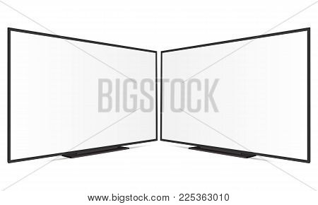 Two TV with blank screen isolated on white background. TV Mockup. Vector illustration
