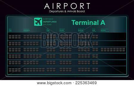 Blank flights scoreboard mockup departures. Blank airport board for destination information, cities, schedule. Vector illustration