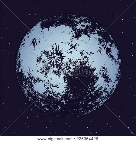 Moon against dark night sky full of stars on background. Celestial body, lunar astronomical object or satellite in outer space. Monochrome vector illustration hand drawn in trendy dotwork style poster
