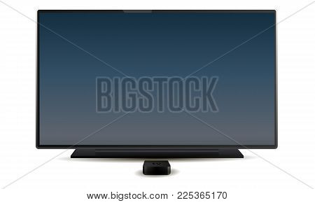 TV and reciever with colored dark blue screen isolated on white background. Vector illustration