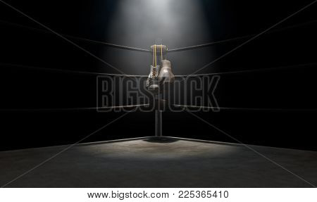 Vintage Boxing  Corner And Hung Up Gloves