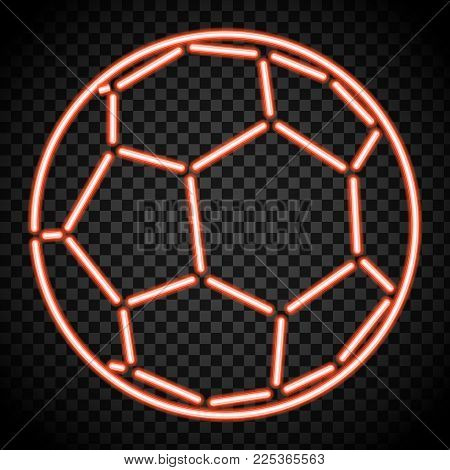 a soccer ball made of illuminated shapes. Sport illustration consisting glowing lines, points and polygons in the form of football ball. Abstract neon concept.
