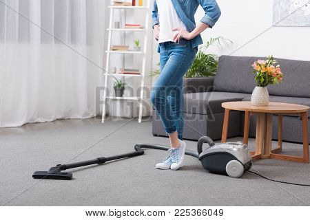 Partial View Of Woman Standing Akimbo In Room Wit Vacuum Cleaner