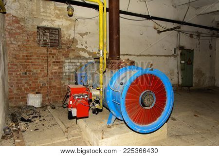 The Old Abandoned Gas Equipment For Supplying Hot Air To The Premises Of The Destroyed Building Of T