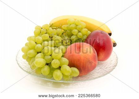 Bananas, Grapes, Peaches, Nectarines, On A Plate For Any Purpose