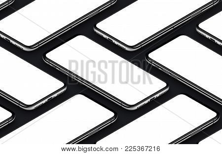 iPhone X style perspective view isometric black smartphones mockup. Smartphone front side template. 3D illustration.