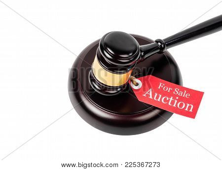 Auction Sales With Wooden Gavel Isolated On White Background.