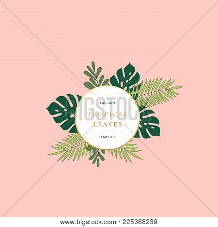Monstera Palm Tropical Leaves Fashion Sign, Emblem, Card or Logo Template. Abstract Green Foliage with Round Banner, Golden Gradient Border and Classy Typography. Pink Pastel Colors. Isolated.