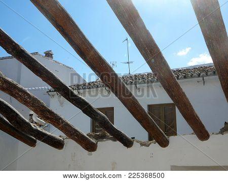 Roof Beams Agaist Blue Sky
