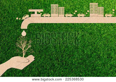 Ecology Concept Paper Cut Of Pollution Exhaust Smoke From The Car And Arid Save Water