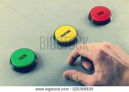 make decision yes no or maybe. push the button