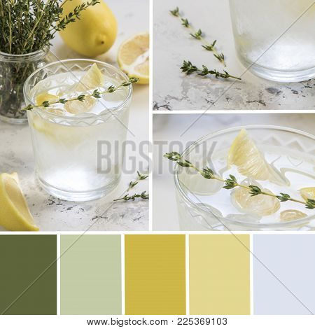 Palette of detox water with lemon and thyme. Color matching palette.