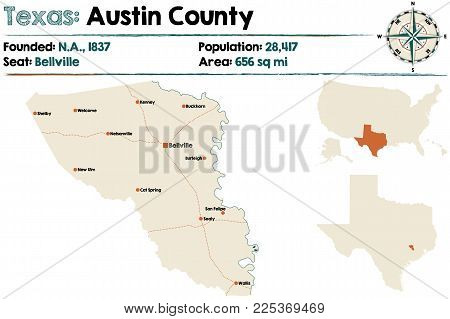 Detailed map of Austin county in Texas, USA