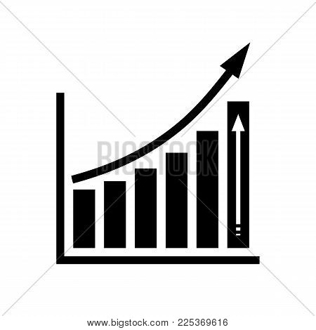 Chart icon. Infographic symbol isolated on white background. Simple growing graph icon in flat style. Vector illustration.