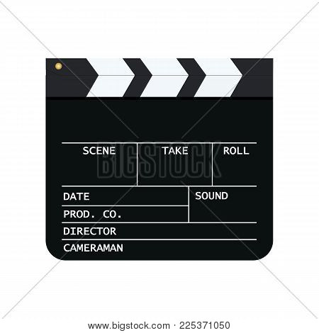 Clapperboard mockup . Vector illustration. Movie clapper board isolated on white background