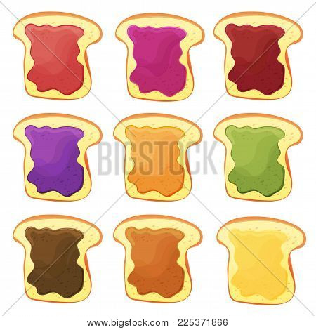 A set of nine sweet sandwiches with chocolate, banana jelly, peanut butter, berries jelly