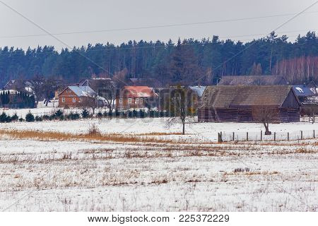 View Of Soce Village In Podlasie Region Of Poland With Famous Traditional Folk Houses