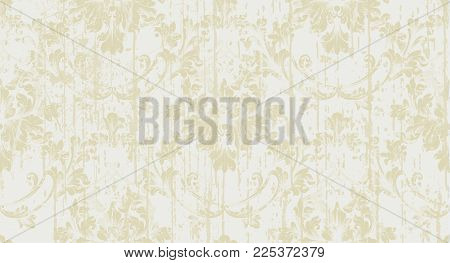 Baroque ornament Vector. Royal victorian grunge background. Trendy gold color fabric texture