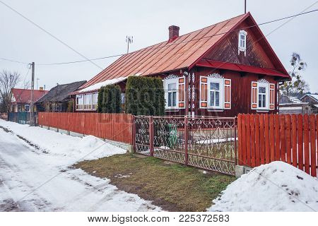 Traditional Wooden Folk Houses In Soce, Small Village In Podlasie Region Of Poland